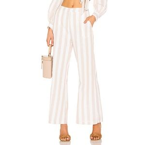 Superdown Nude and White Striped Pants